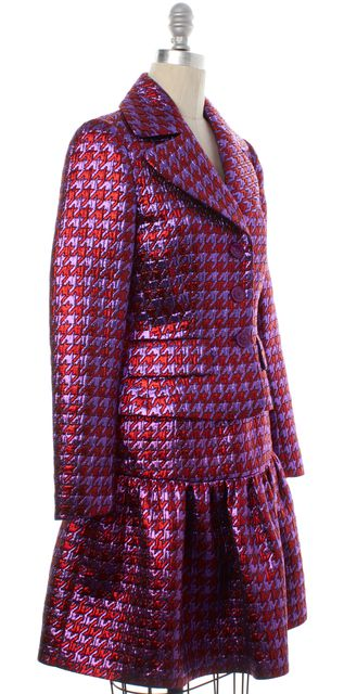 BOUTIQUE MOSCHINO Red Purple Metallic Houndstooth Dress and Jacket Set