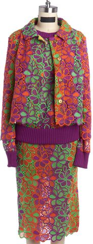 BOUTIQUE MOSCHINO Green Orange Purple Eyelet Jacket Top and Skirt Set