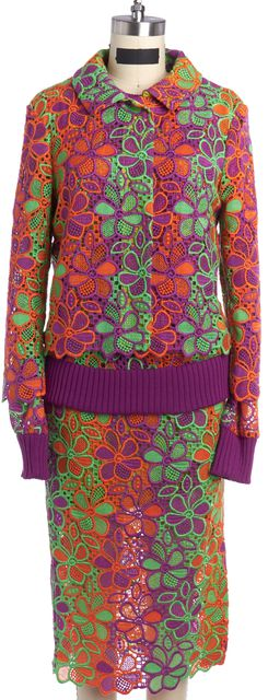 BOUTIQUE MOSCHINO Green Orange Purple Eyelet Jacket Top and Skirt Set