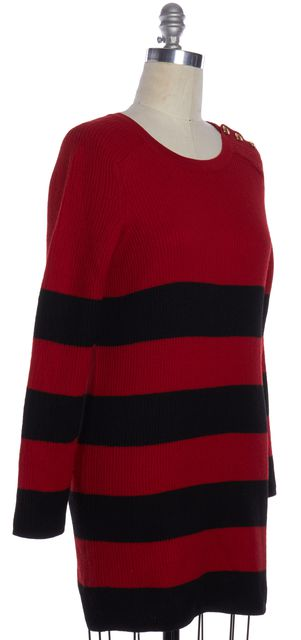 BOUTIQUE MOSCHINO Red Black Striped Wool Sweater Dress