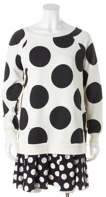 BOUTIQUE MOSCHINO Black White Polka Dot Layered Crewneck Sweater