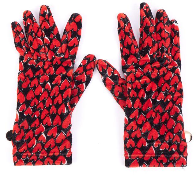 BOUTIQUE MOSCHINO Red Black Heart Print Velvet Evening Gloves