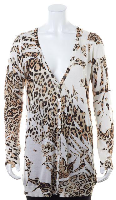 BLUMARINE White Brown Cut Cheetah Print Silk Button Up Cardigan