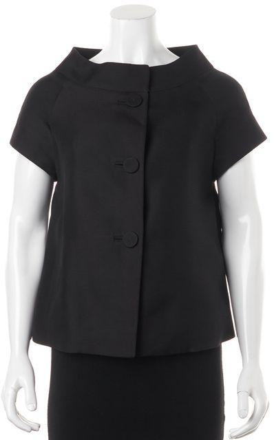 BARNEYS NEW YORK Black Silk Jacket Top