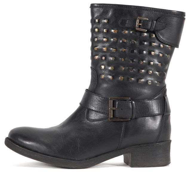 BARNEYS NEW YORK Black Leather Studded Combat Boots