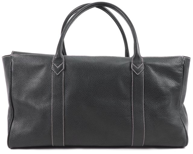 BARNEYS NEW YORK Black Pebbled Leather Top Handle Tote
