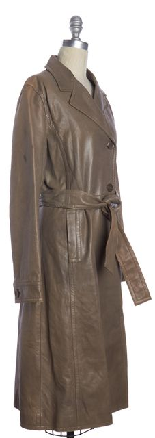 BOSS HUGO BOSS Beige Leather Trench Coat