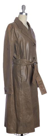 BOSS HUGO BOSS Beige Leather Trench Coat