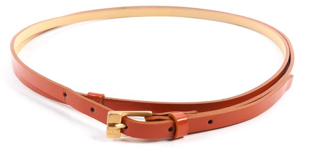 "BOSS HUGO BOSS Orange Patent Leather Double Wrap Belt Fits 30"" Waist"