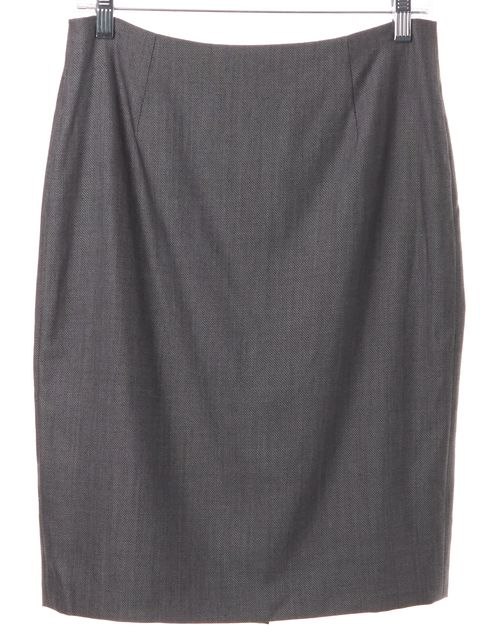 BOSS HUGO BOSS Gray Twill Wool Pencil Skirt