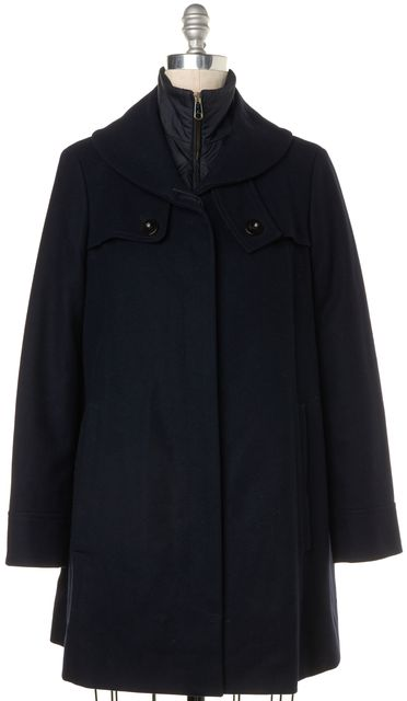 BOSS HUGO BOSS Navy Blue Wool Removable Liner Basic Jacket Coat