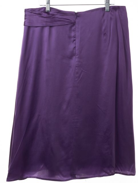BOSS HUGO BOSS Casual Purple Silk Asymmetrical Knee Length Skirt