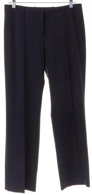BOSS HUGO BOSS Navy Blue Stretch Wool Pleated Trousers Pants