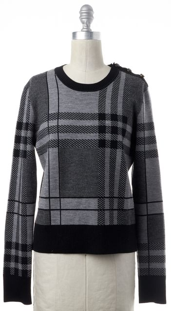 BOSS HUGO BOSS Gray Plaid Long Sleeve Wool Crewneck Sweater
