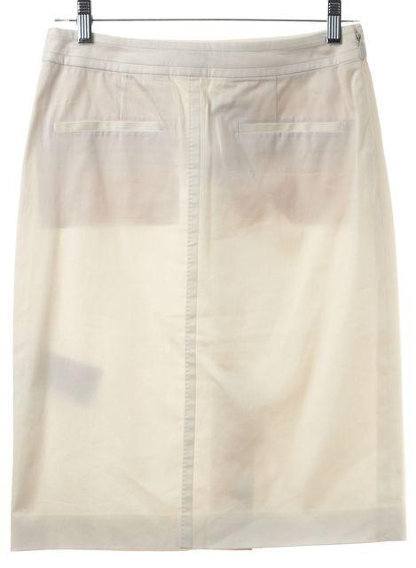 BOSS HUGO BOSS White Pocket Front Back Zip Semi Sheer Pencil Skirt