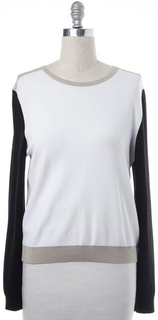 BOSS HUGO BOSS White Black Beige Colorblock Crewneck Sweater