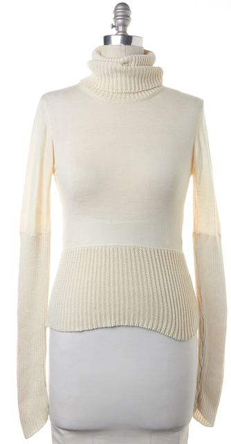 BOSS HUGO BOSS Ivory Wool Knit Casual Turtleneck Sweater Top