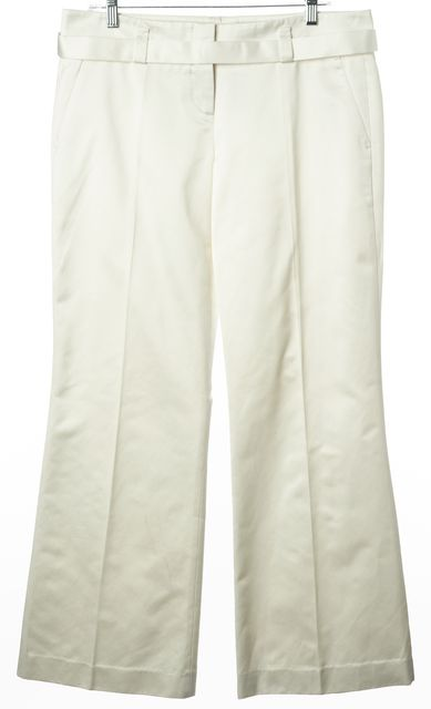 BOSS HUGO BOSS Ivory Off White Casual Satin Wide Leg Pants