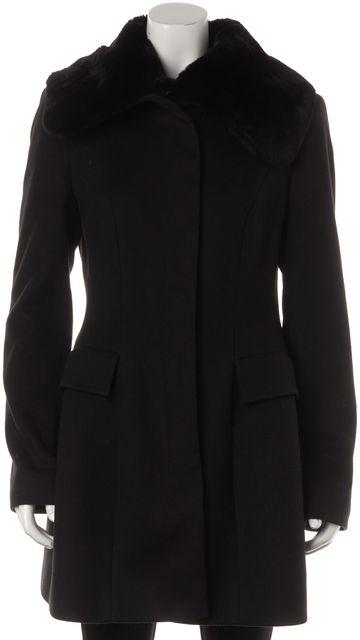 BOSS HUGO BOSS Black Wool Cashmere Rabbit Fur Collar Long Winter Coat