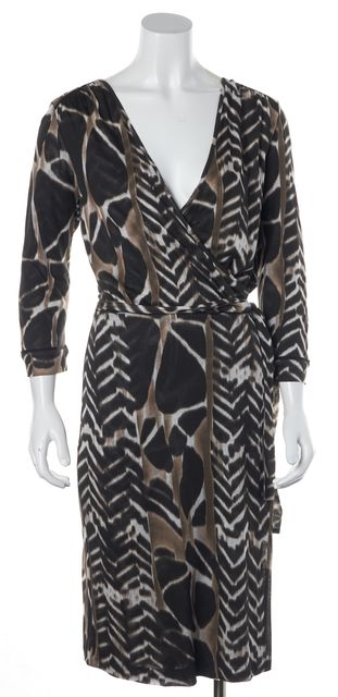 BOSS HUGO BOSS Brown Beige Abstract Printed Wrap Dress