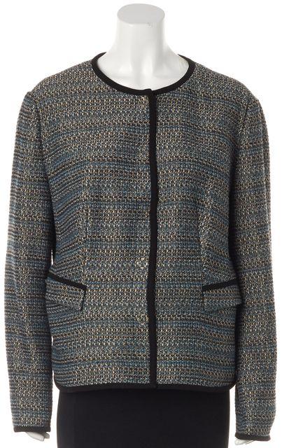 BOSS HUGO BOSS Blue Brown Gold Tweed Snap Button Collarless Jacket