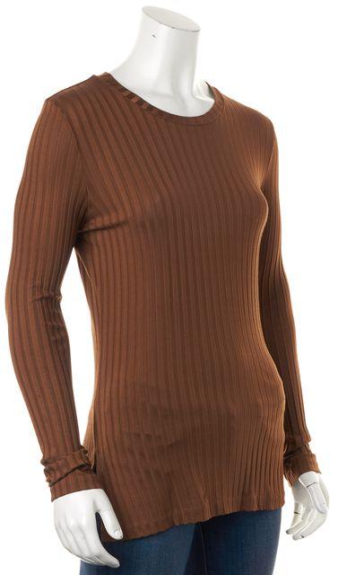 BOSS HUGO BOSS Bronze Ribbed Long Sleeve Crewneck Knit Top