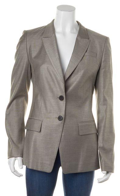 BOSS HUGO BOSS Light Gray Wool Two Button Blazer Jacket