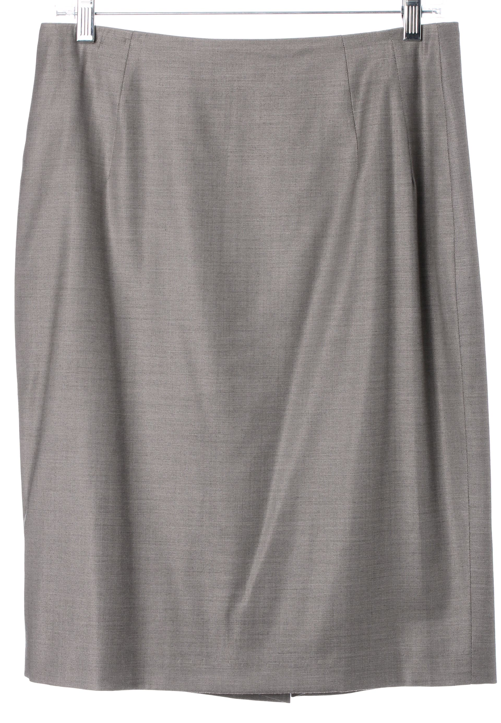 BOSS Hugo Boss Taupe Gray Above Knee Classic Suiting Pencil Skirt ...