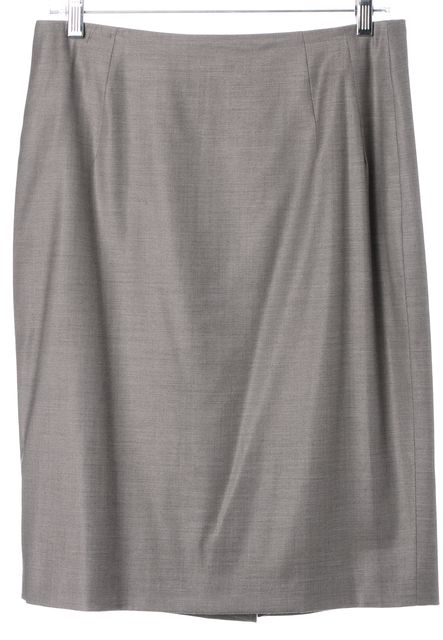 BOSS HUGO BOSS Taupe Gray Above Knee Classic Suiting Pencil Skirt
