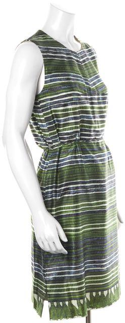 BOSS HUGO BOSS Green Navy Striped Silk Waist Tie Sleeveless Blouson Dress