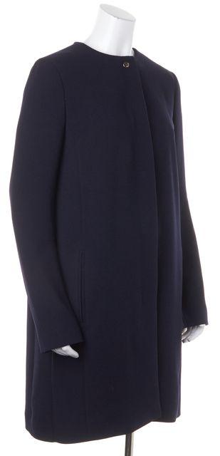 BOSS HUGO BOSS Navy Blue Hidden Buttons Long Dress Coat Jacket