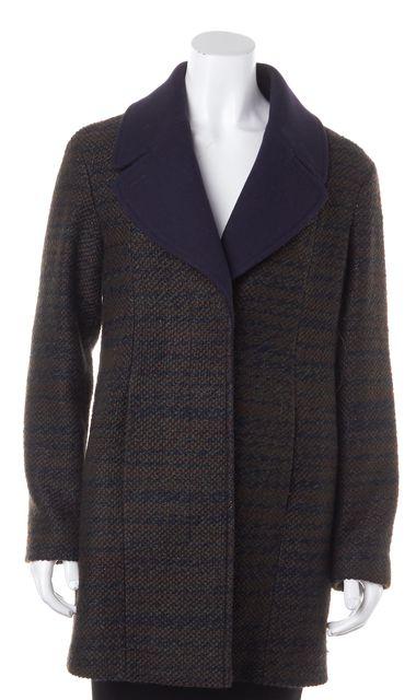 BOSS HUGO BOSS Green Blue Metallic Tweed Pocket Front Long Coat Jacket