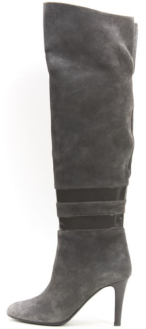 BOSS HUGO BOSS Gray Suede Patent Leather Knee-High Boots