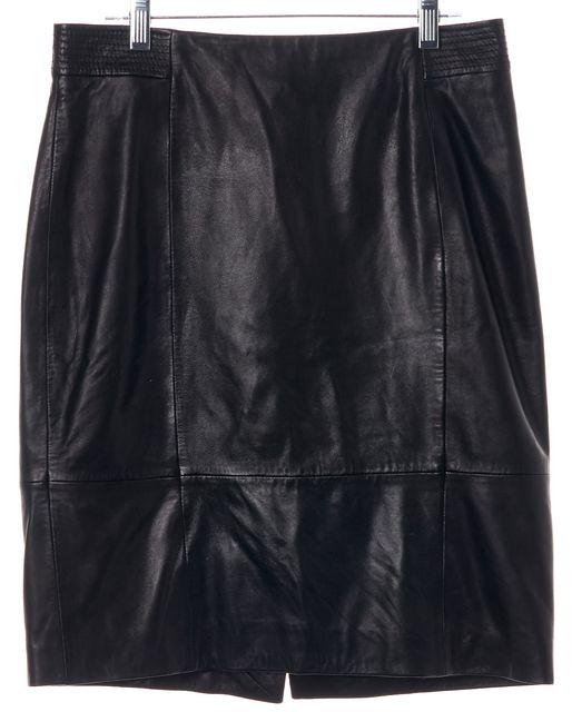 BOSS HUGO BOSS Black Leather Casual Straight Above Knee Skirt