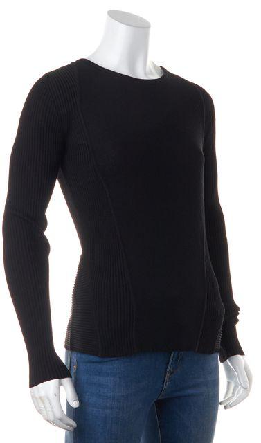 BOSS HUGO BOSS Black Crewneck Long Sleeve Ribbed Knit Top