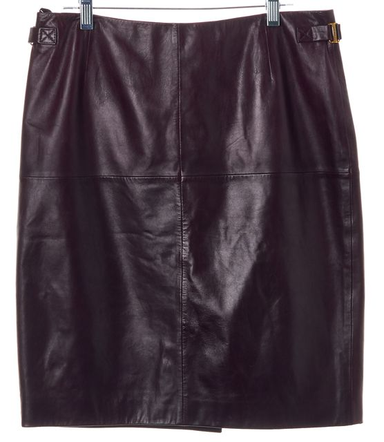 BOSS HUGO BOSS Plum Purple Leather Casual Straight Above Knee Skirt