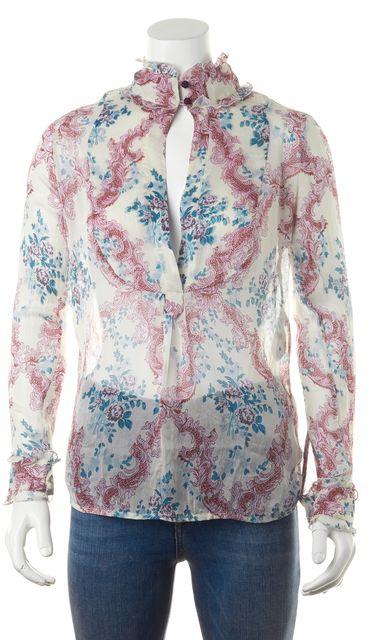 BOSS HUGO BOSS White Pink Blue Purple Abstract Print Sheer Blouse