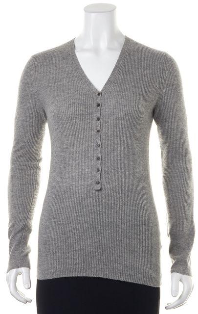 BOSS HUGO BOSS Gray Cashmere Rib Knit Top