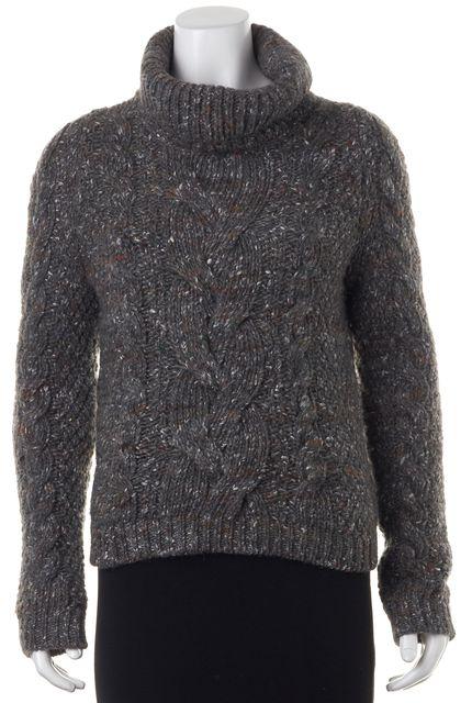 BOSS HUGO BOSS Gray Cable Knit Turtleneck Sweater