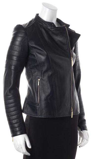 BOSS HUGO BOSS Navy Blue Leather Motorcycle Jacket