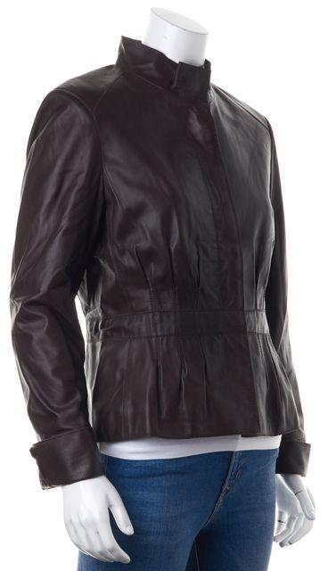 BOSS HUGO BOSS Brown Lamb Leather Pleated Waist Classic Jacket