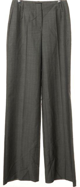 BOSS HUGO BOSS Gray Pinstriped Silk Mohair Wool Flared Leg Dress Pants