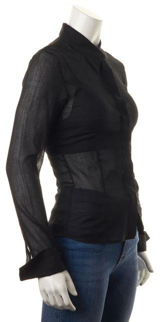 BOSS HUGO BOSS Black Cotton Sheer Button Down Shirt