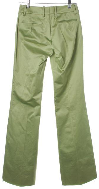 BOSS HUGO BOSS Green Cotton Sateen Pleated Flared Leg Trousers Pants