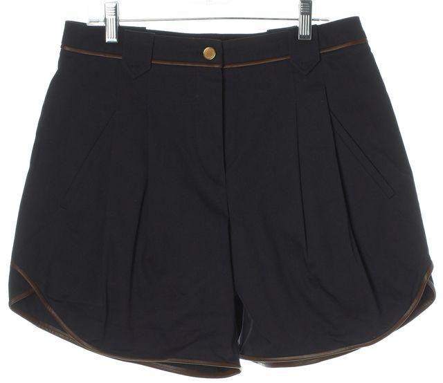 BOSS HUGO BOSS Navy Blue Brown Naina Pleated Casual Shorts