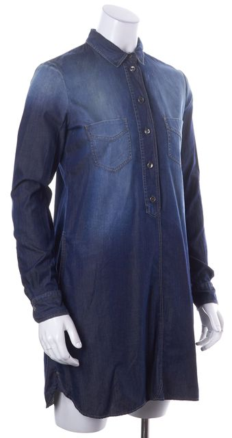 BOSS HUGO BOSS Blue Cotton Chambray Long Sleeve Mini Shirt Dress