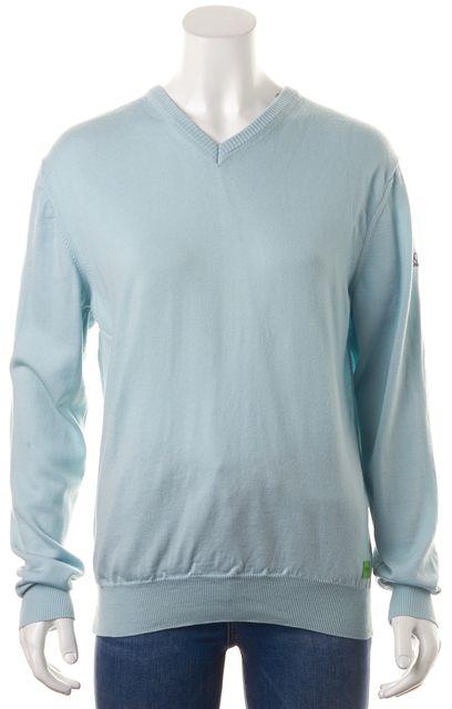 BOSS HUGO BOSS Baby Blue Wool V-Neck Sweater