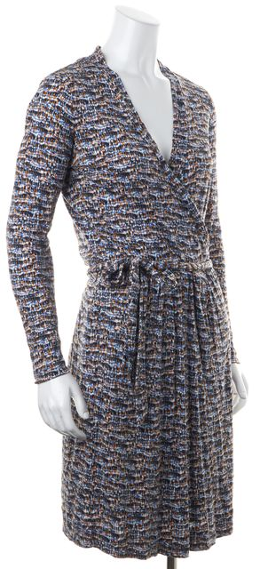 BOSS HUGO BOSS Blue Orange Black Abstract Printed Jersey Wrap Dress