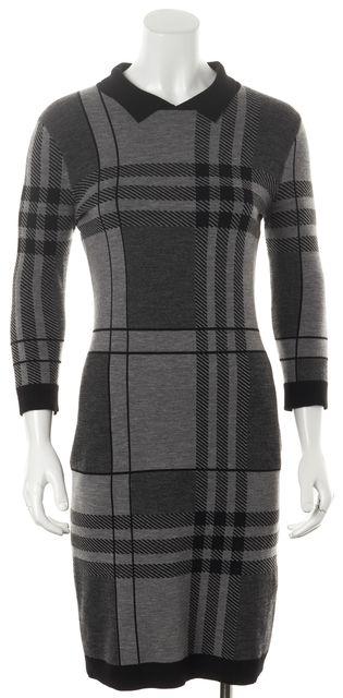 BOSS HUGO BOSS Gray Black Plaid Collared Sweater Dress