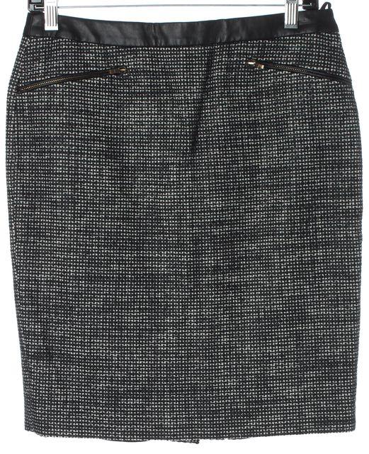 BOSS HUGO BOSS Black White Zip Pockets Above Knee Pencil Skirt